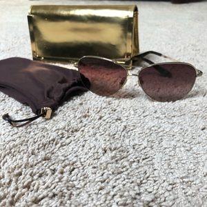 Tory Burch brown logo aviator sunglasses